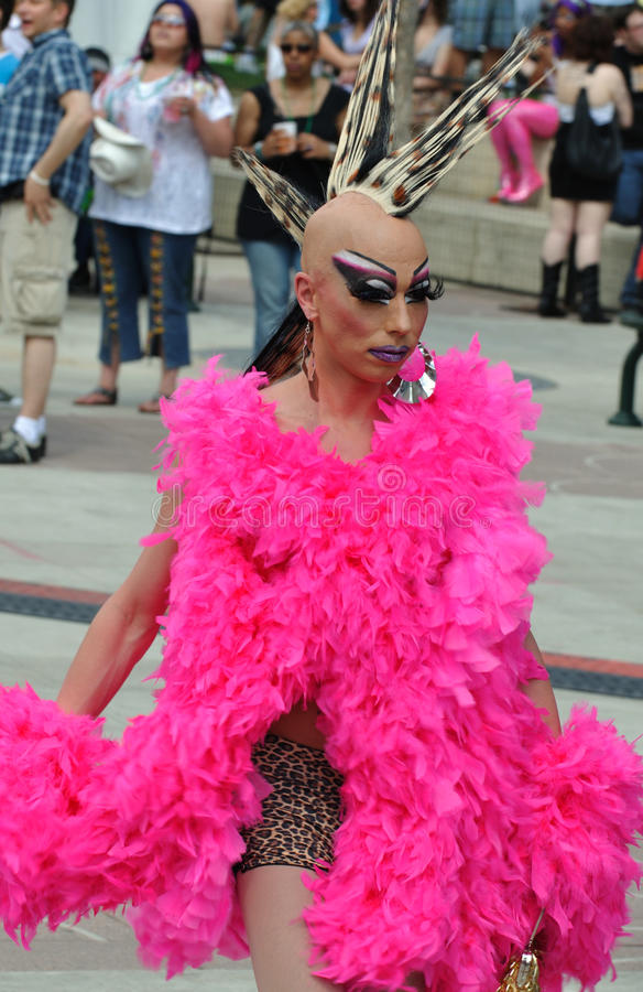 Drag queen at pride week in Edmonton. A young drag queen showing off during Edmonton's pride festival royalty free stock image