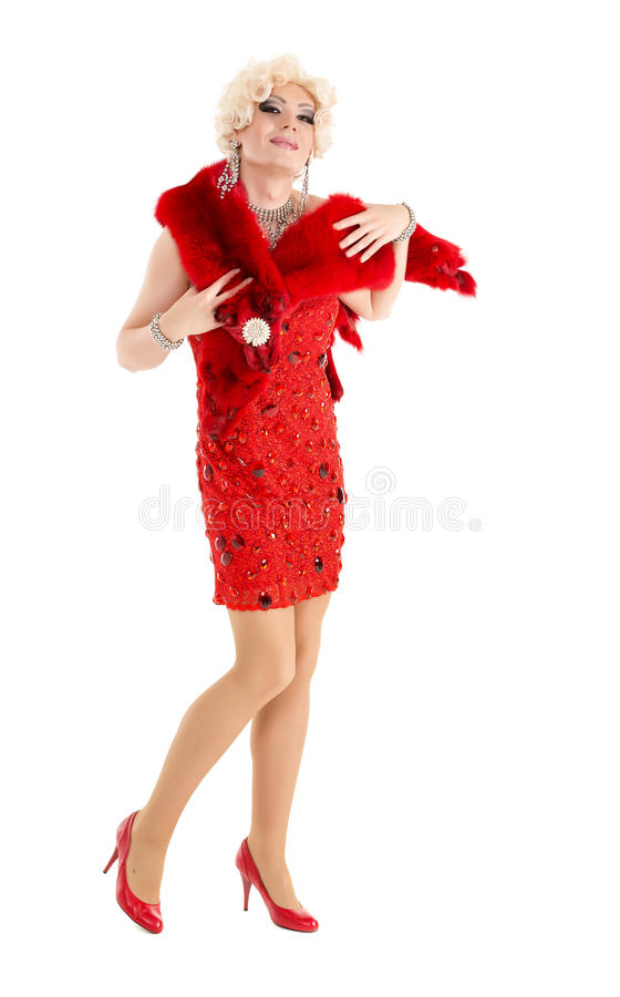 Drag Queen in Red Dress with Fur Performing. On white background royalty free stock image