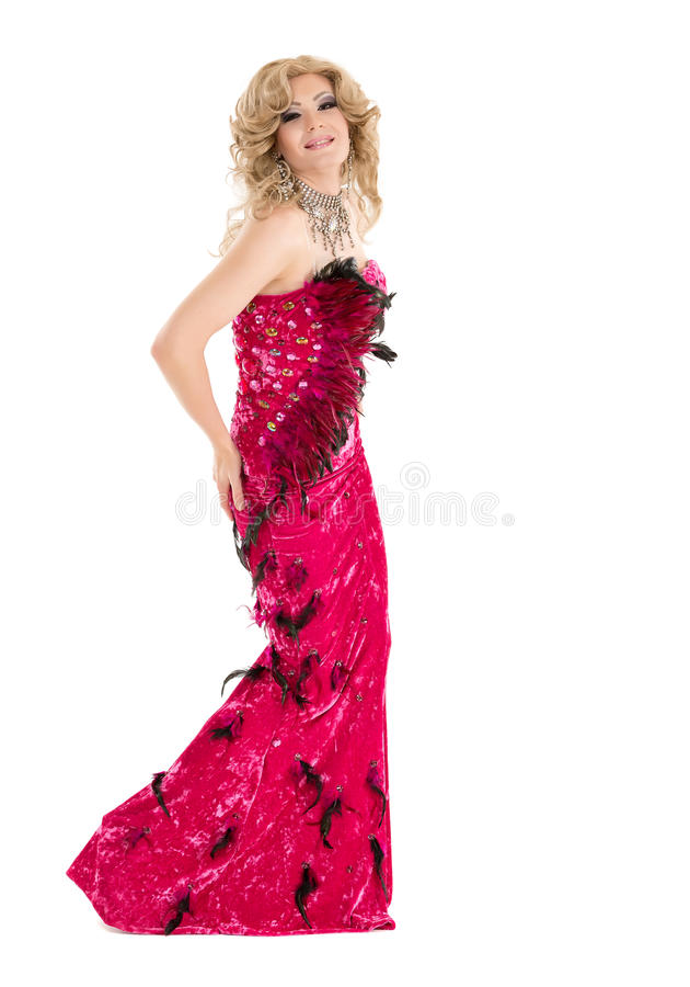 Drag Queen in Red Evening Dress Performing. On white background stock photography
