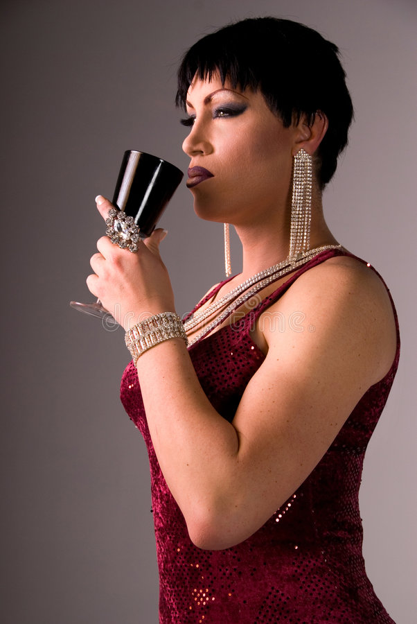 Download Drag Queen Sipping Wine. Stock Photo - Image: 5104180