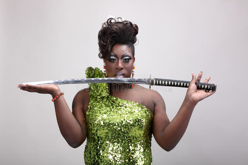 Download Drag queen with sword stock photo. Image of male, queen - 27377322