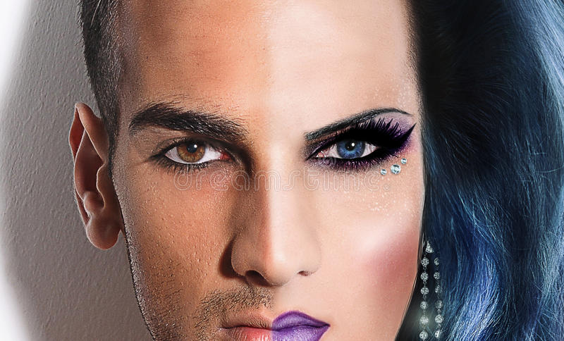 Drag Queen Transformation. Transformation of a male into a glamorous drag queen stock photos