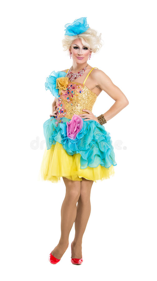 Drag Queen in Yellow-Blue Dress Performing. On white background royalty free stock photos