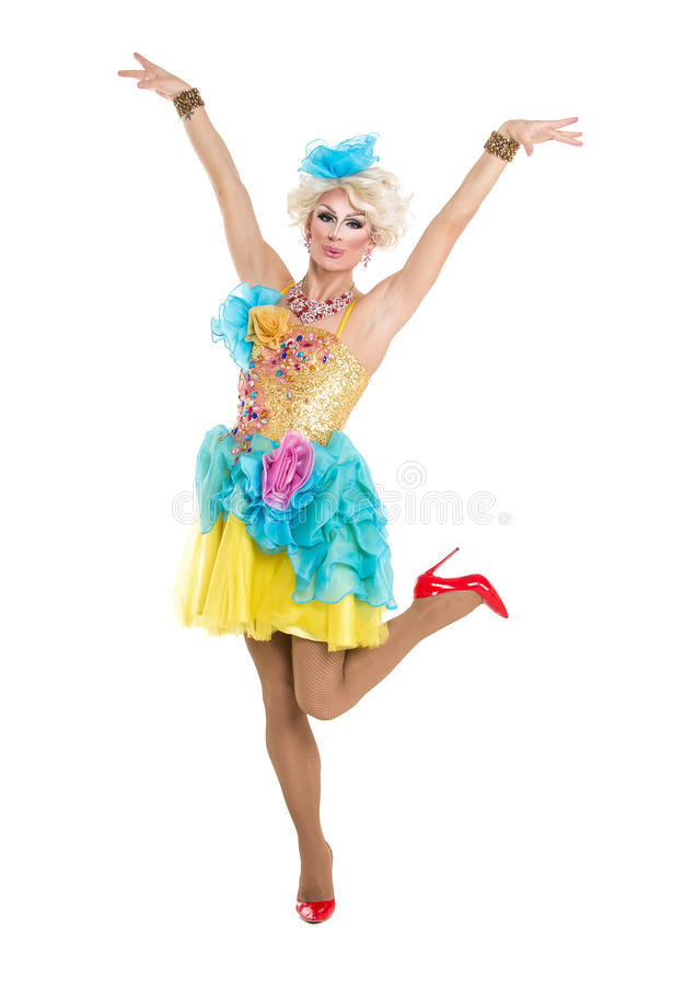 Drag Queen in Yellow-Blue Dress Performing. On white background royalty free stock images