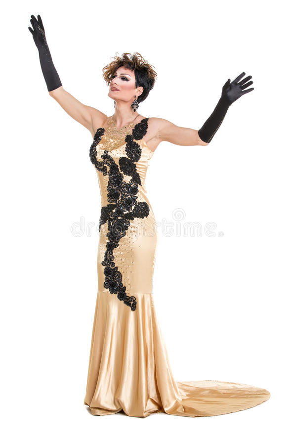 Drag Queen in Yellow Dress Performing. On white background stock photography