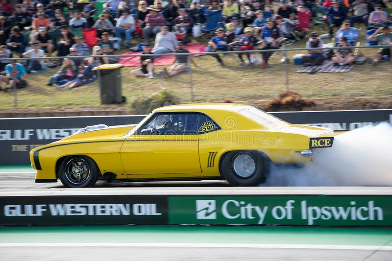 2018 Winternationals Ipswich Australia. A drag race car at the starting line during the celebration of the 2018 Gulf western Oils Winternationals held at the stock image