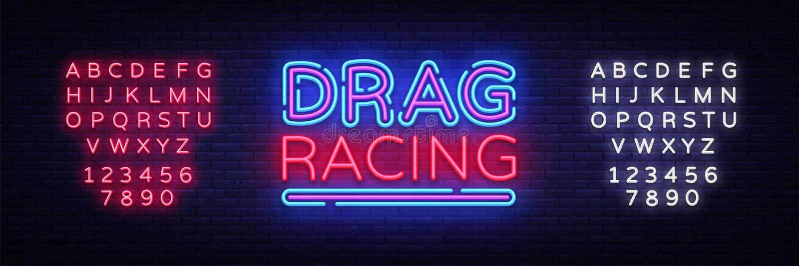 Drag Racing neon sign vector. Racing design template neon sign, light banner, neon signboard, nightly bright advertising. Light inscription. Vector royalty free illustration