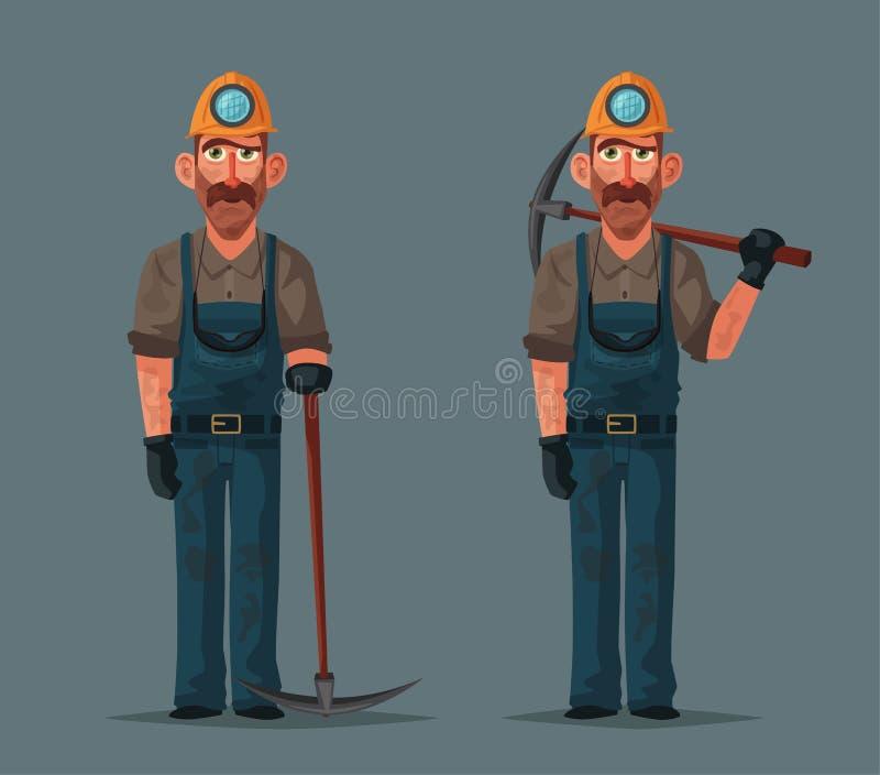 A draga carrega o carvão do caminhão Caráter e ferramentas do mineiro Ilustração do vetor dos desenhos animados ilustração royalty free