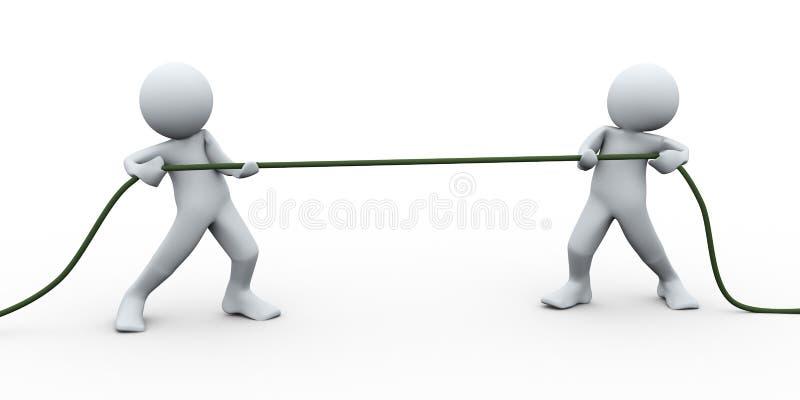 dragande rep för folk 3d royaltyfri illustrationer