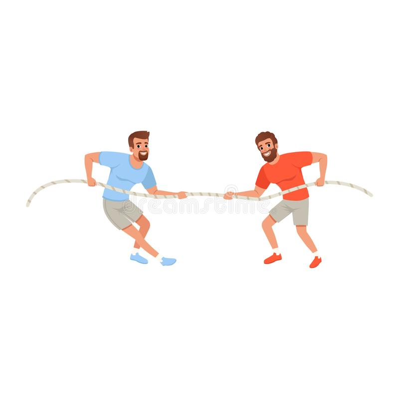 Dragande rep för unga män Skäggiga grabbar i sportswear Aktivt folk isolerad white för konkurrens begrepp Plan vektordesign vektor illustrationer