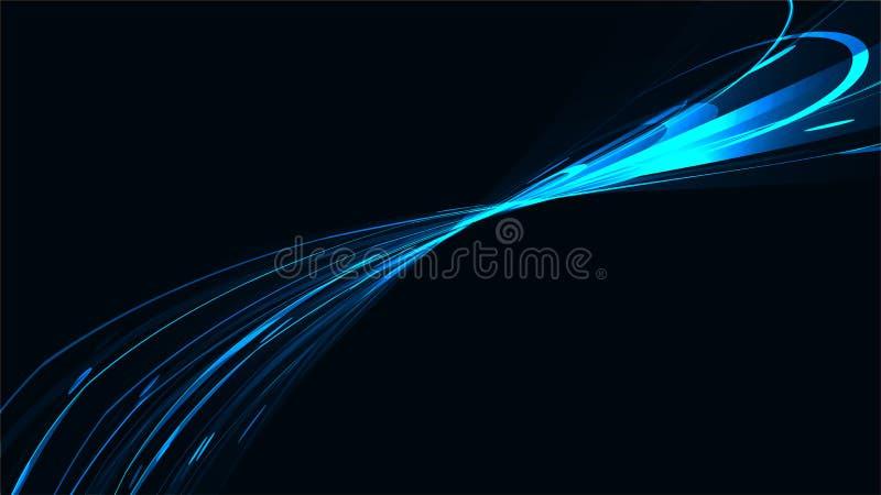 Dragar elektrisk ljus ljus ljus texturbakgrund för blå abstrakt ljus magisk kosmisk energi av remsor, driftiga linjer, vektor illustrationer