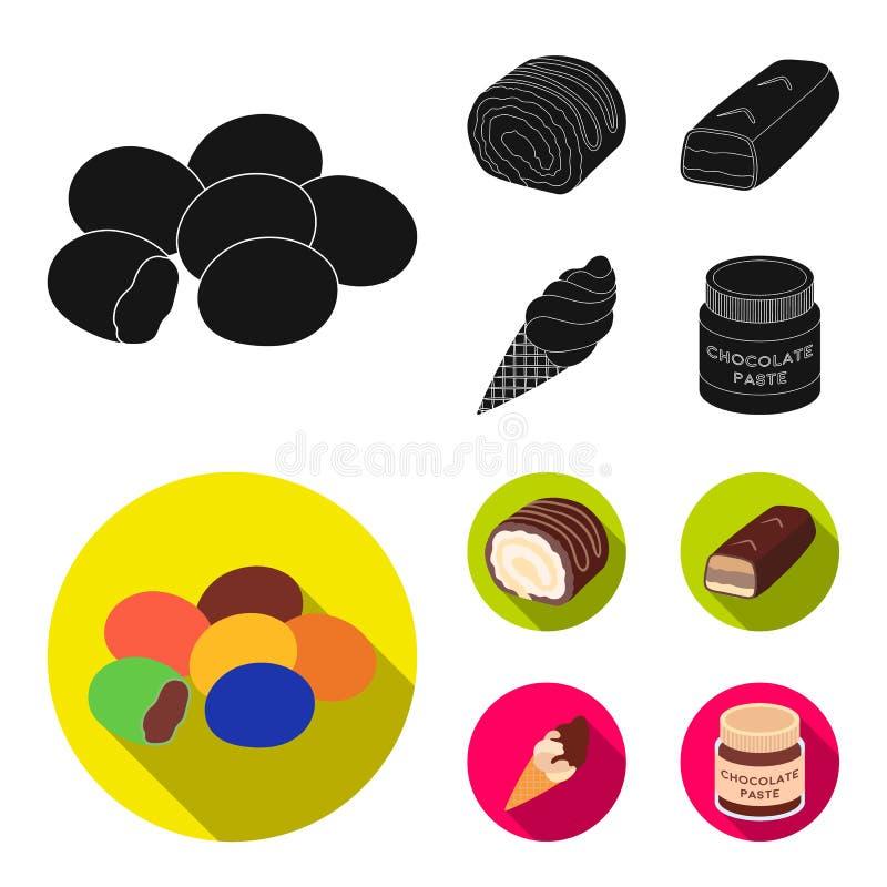 Dragee, broodje, chocoladereep, roomijs Chocoladedesserts geplaatst inzamelingspictogrammen in de zwarte, vlakke voorraad van het vector illustratie