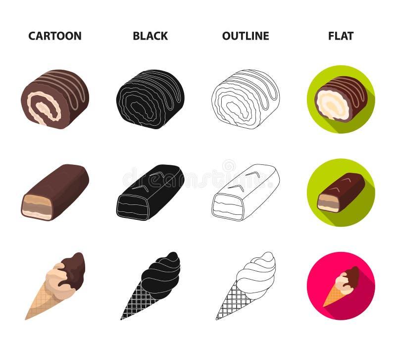 Dragee, rolka, czekoladowy bar, lody Czekoladowi desery ustawiać inkasowe ikony w kreskówce, czerń, kontur, mieszkanie styl ilustracja wektor