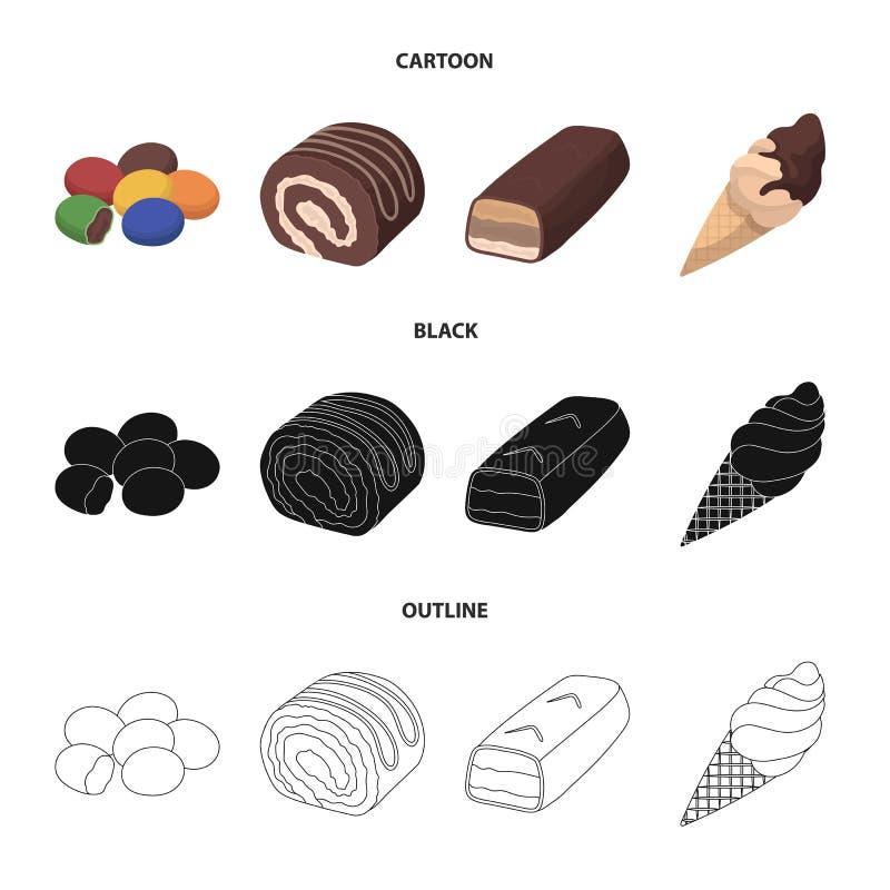 Dragee, rolka, czekoladowy bar, lody Czekoladowi desery ustawiać inkasowe ikony w kreskówce, czerń, konturu stylowy wektor ilustracja wektor