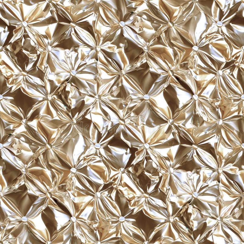 dragen åt Lagledare-typ skinande guld- foliescreed Chesterfieldsoffastil vadderade stoppningbakgrunden, sömlös textur för bakgrun vektor illustrationer
