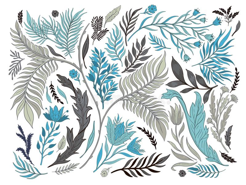 Dragen abstrakt hand för naturuppsättningsamling Etnisk prydnad, blom- tryck, textiltyg, botanisk beståndsdel retro stiltappning stock illustrationer