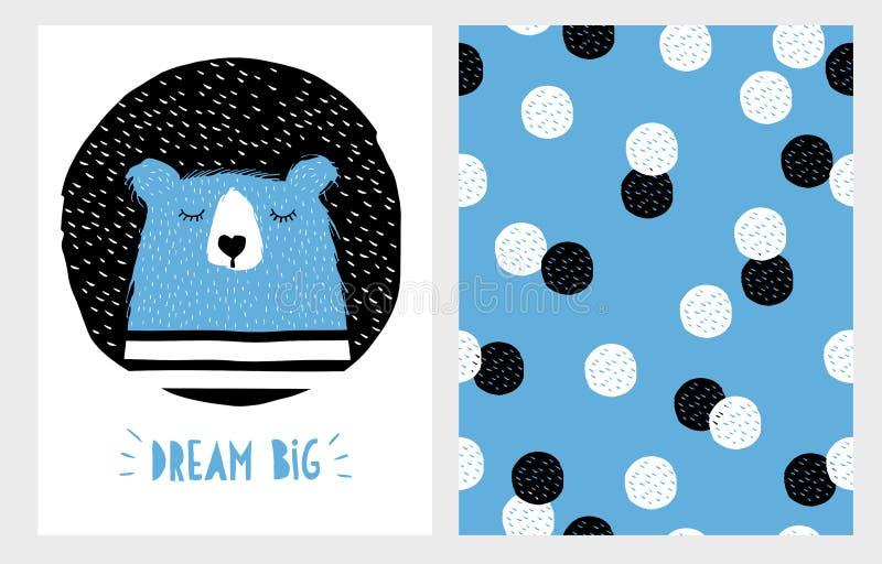 Dragen abstrakt hand sova uppsättningen för björnvektordesign royaltyfri illustrationer