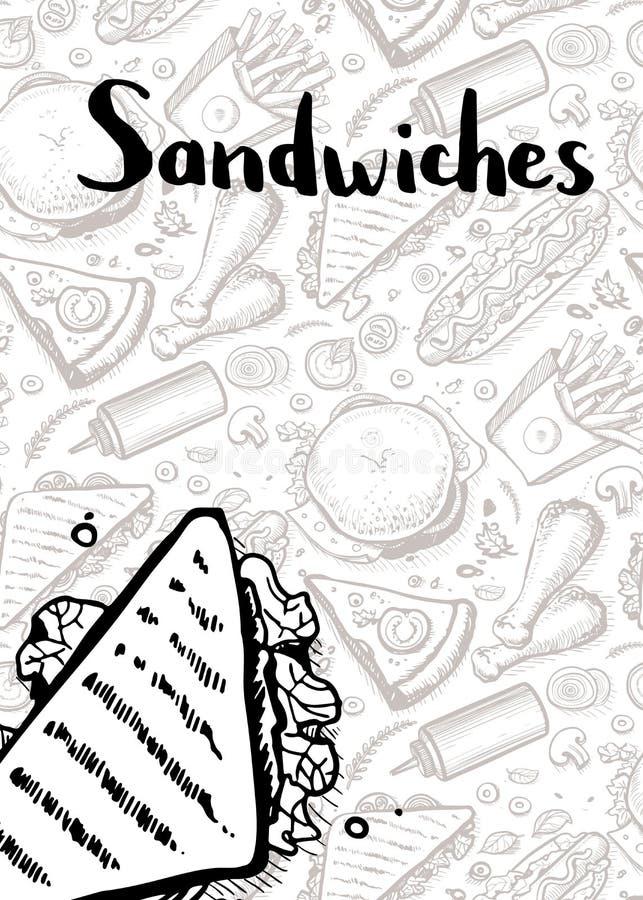 Dragen affisch för smörgåstappning hand vektor illustrationer
