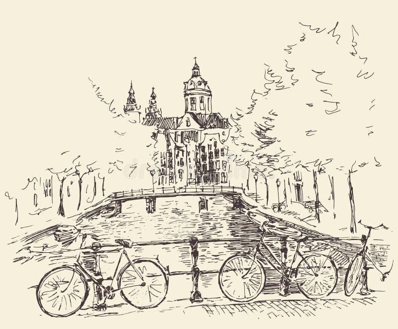 Dragen Amsterdam tappning inristad illustrationhand vektor illustrationer