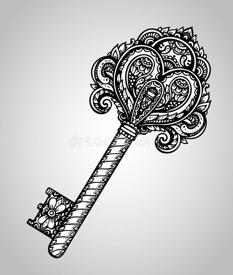 Dragen antik utsmyckad tangent för vektor hand stock illustrationer