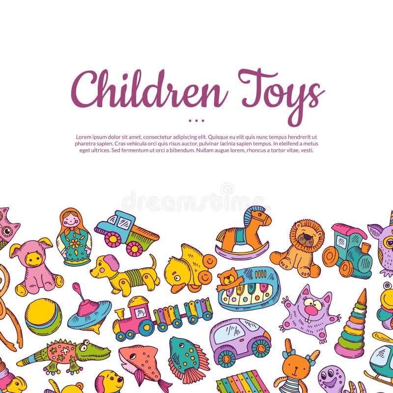 Dragen barn- eller ungeleksakillustration för vektor hand royaltyfri illustrationer