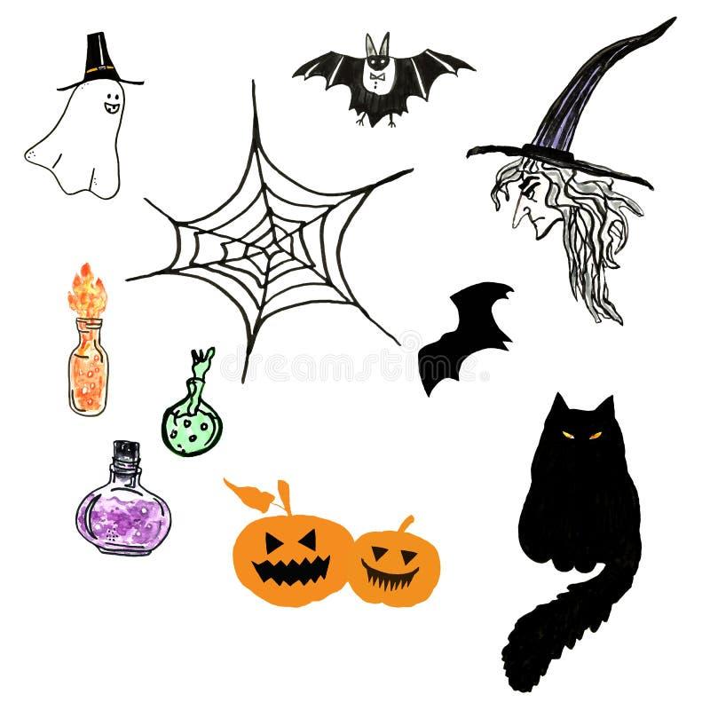 Dragen beståndsdeluppsättning för allhelgonaafton hand Svart katt, häxa, slagträ, spöklika sned pumpor, dryckbottlrs, spöke vektor illustrationer
