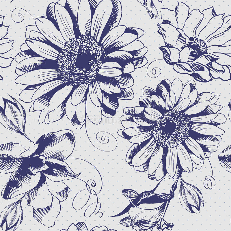 Dragen blommamodell för tappning hand stock illustrationer