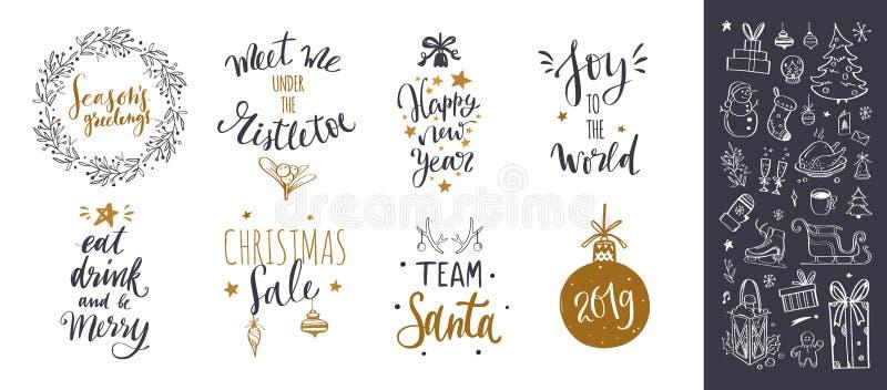 Dragen bokstäver för vektorn klottrar handen med jul samlingen stock illustrationer