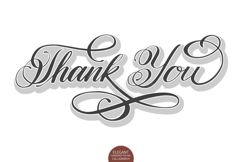 Dragen bokstäver för vektorn tackar utföra i relief handen dig med mjuk skugga och Elegant modern handskriven kalligrafi med tack vektor illustrationer