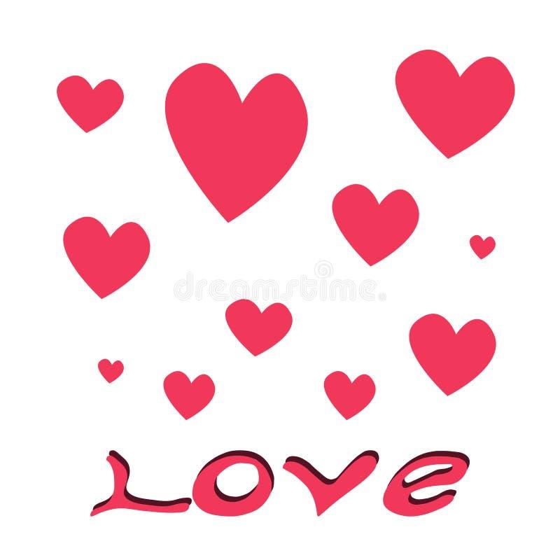 Dragen bokst?ver f?r f?r?lskelseord hand små och stora hjärtor på vit bakgrund med att märka illustrationen för förälskelseGrunge vektor illustrationer