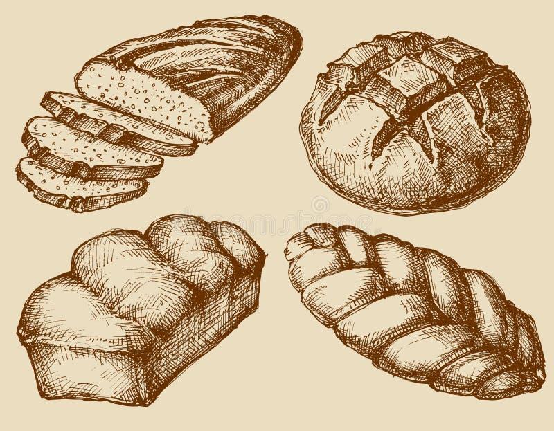 Dragen bröduppsättninghand royaltyfri illustrationer