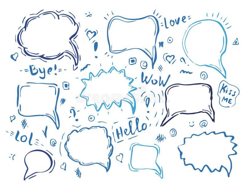 Dragen bubblauppsättning för anförande hand vektor illustrationer