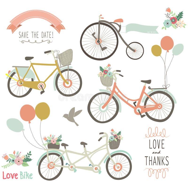 Dragen cykel för tappning hand vektor illustrationer