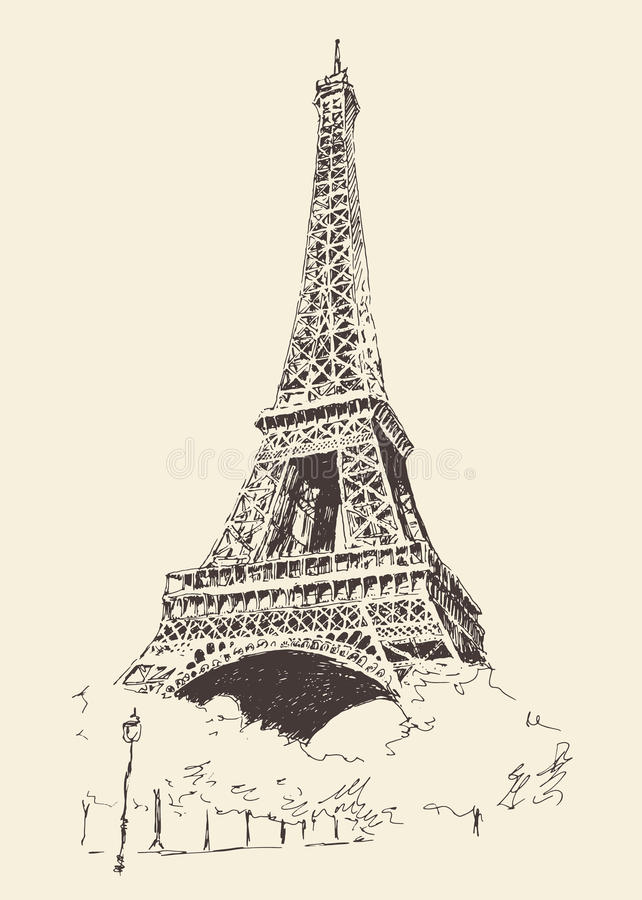 Dragen EiffeltornParis Frankrike inristad hand vektor illustrationer