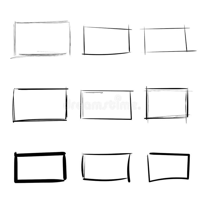 Dragen enkel uppsättning för rektangelmallar hand vektor illustrationer
