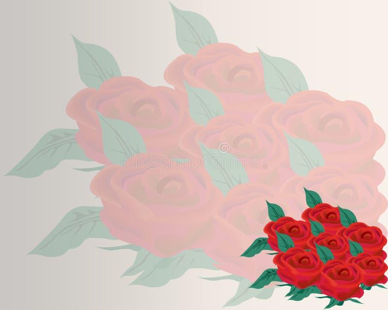 Dragen f?rgupps?ttning f?r r?da rosor hand Den svarta linjen steg blommainflorescencekonturer som isolerades p? vit bakgrund Symb royaltyfri illustrationer