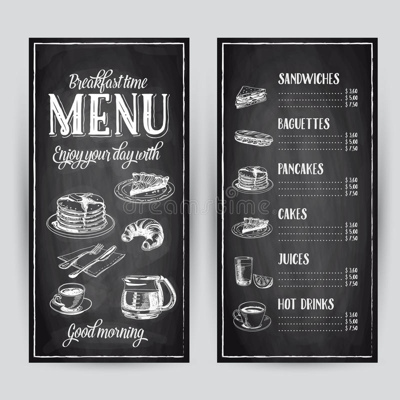 Dragen frukostillustration för vektor hand royaltyfri illustrationer