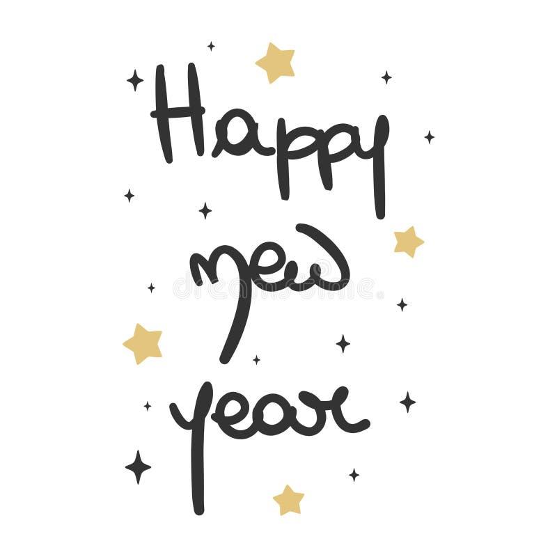 Dragen gullig älskvärd hand märka för vektorhälsning för lyckligt nytt år kortet stock illustrationer