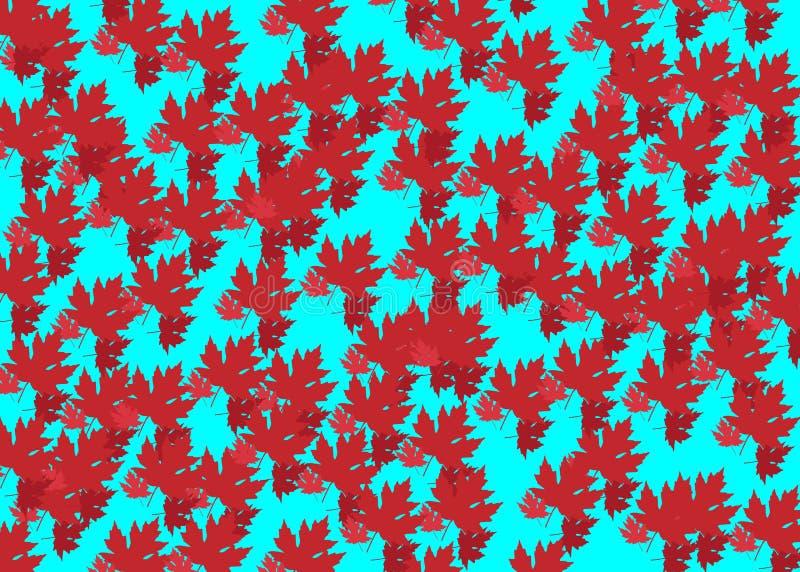 Dragen höstbakgrund med härliga sidor, modelltextur Röda lönnlöv, isolerad eller himla- bakgrund för vektor vektor illustrationer