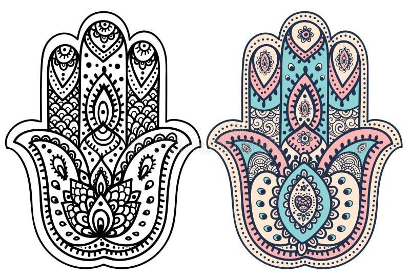 Dragen hamsa för vektor indisk hand med prydnader vektor illustrationer