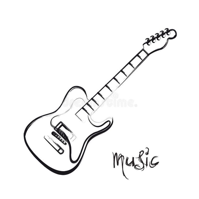 Dragen hand för elektrisk gitarr stock illustrationer