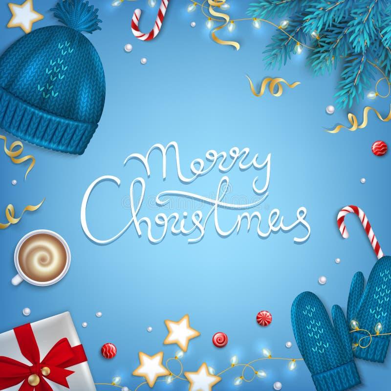 Dragen hand för glad jul märka hälsningbakgrund Filialer för vinterbeståndsdelgran, stucken blå hatt, tumvanten, kaffekopp vektor illustrationer