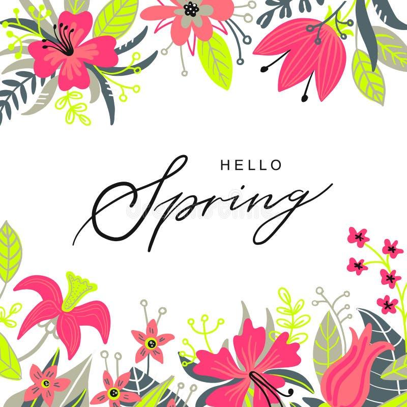 Dragen hand för Hello vårtypografi märka affischen med blommaramdekoren Vektorillustration för 8 kvinnors för mars dag stock illustrationer