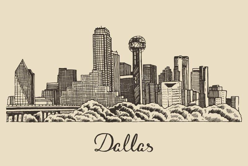 Dragen hand för illustration för Dallas horisontvektor vektor illustrationer