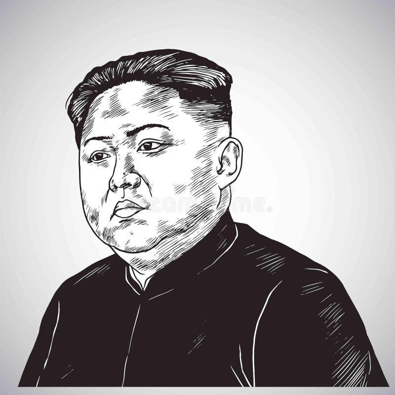 Dragen hand för Kim Jong-FN stående dra illustrationvektorn Oktober 31, 2017 vektor illustrationer