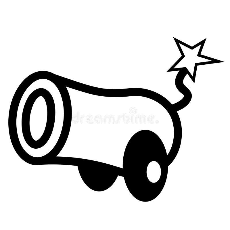 Dragen hand f?r kanonvektoreps, vektor, Eps, logo, symbol, crafteroks, konturillustration f?r olikt bruk stock illustrationer