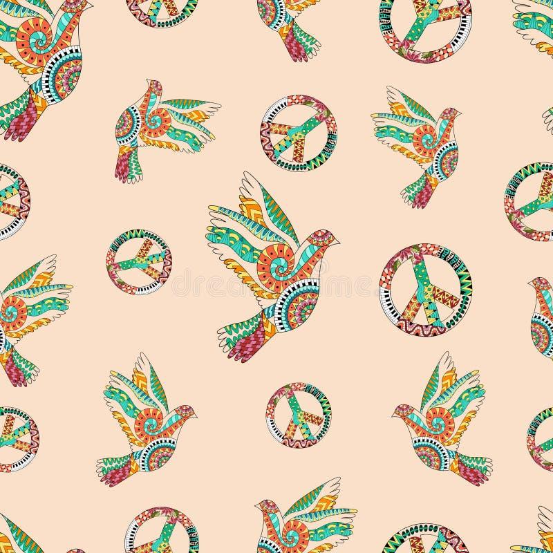 Dragen hand flyga duvor och teckenfred Hippietapet stock illustrationer