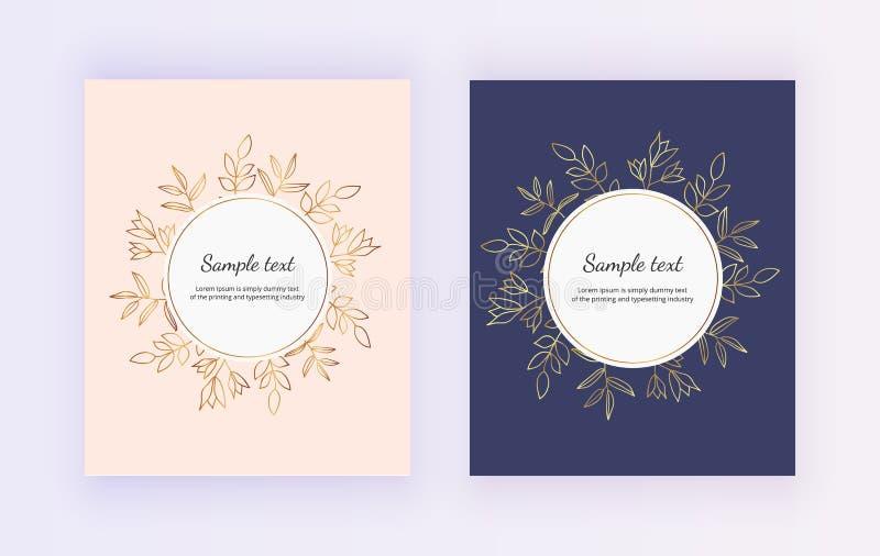 Dragen hand gifta sig inbjudankortet Guld- linjer drar upp konturerna av blommor och sidor på det rosa och mörkt - blå bakgrund b stock illustrationer