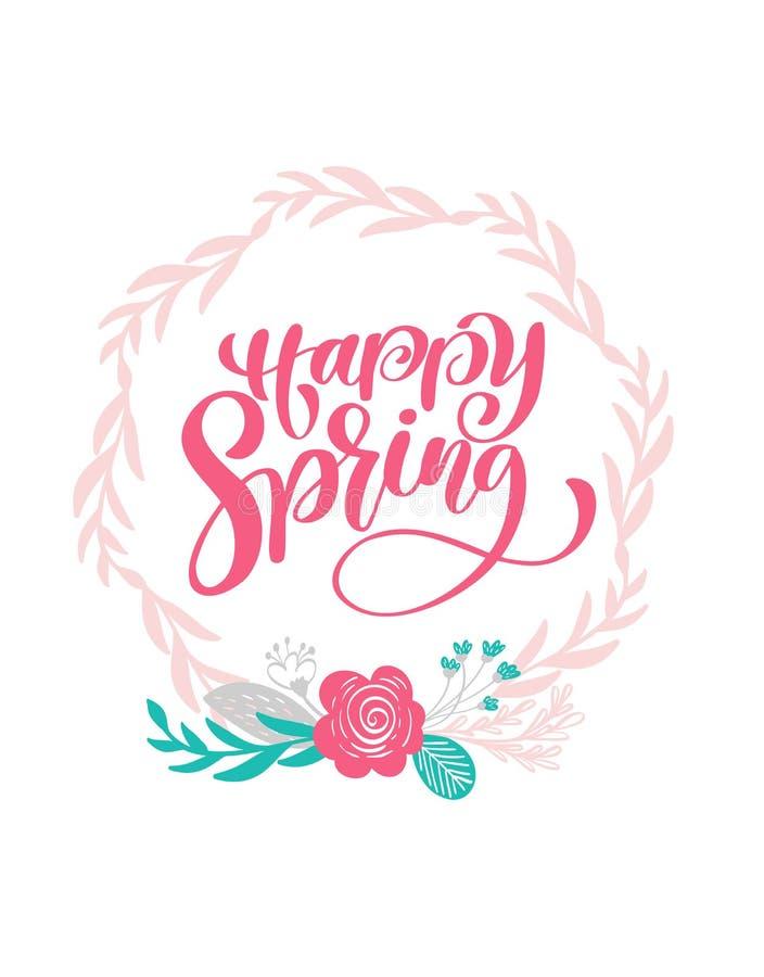 Dragen hand märka den lyckliga våren i den runda ramen av blommor krans, filialer och sidor scandinavian vektor royaltyfri illustrationer