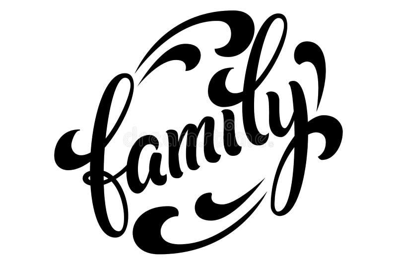 Dragen hand märka familjen Vektorfärgpulverillustration Svart typografi på vit bakgrund med borsteslaglängder familj vektor illustrationer